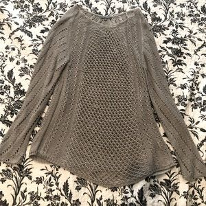 Gray open weave long sleeve top
